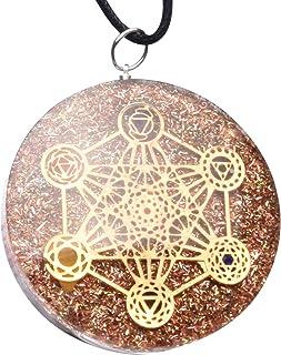 Orgone Pendant Necklace, EMF Protection, Powerful Energy Generator, Metatron's Cube Merkaba 7 Chakras Crystals Stones Orgo...