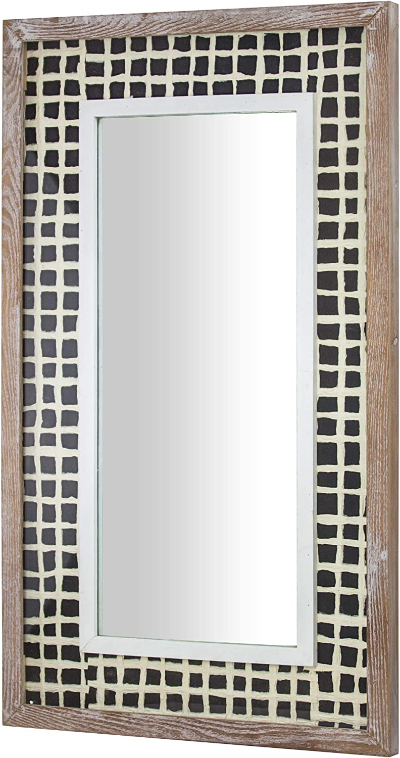 American Art Decor Rustic Whitewashed Wall Super special price Wood trend rank Hand with Mirror