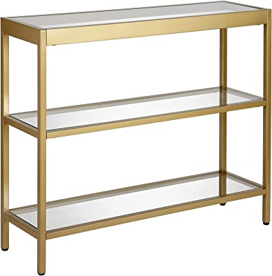 """Henn&Hart Modern Console Sofa 3-Tier Open Shelf, Entryway/Hallway Table for Living Room, Multiple Colors/Sizes, 36"""" L, Gold"""