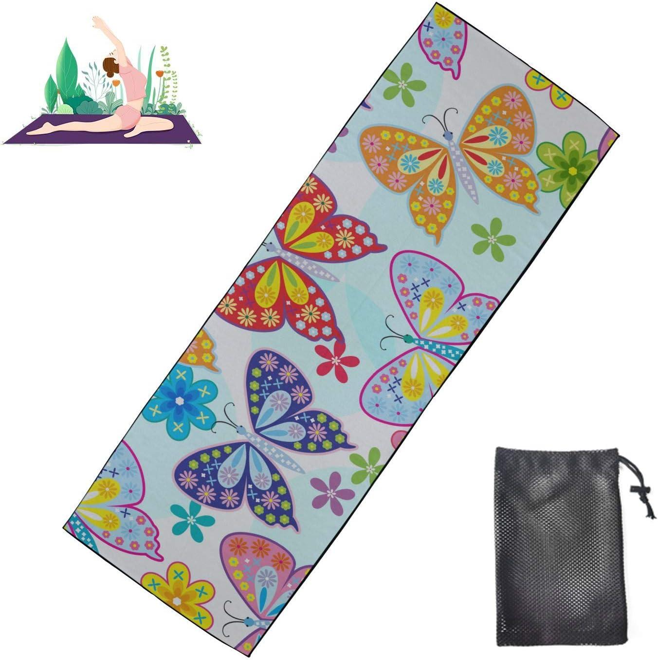 Zaqiwa Ranking TOP17 Daily Yoga Mat Butterfly Hot Non Flower Towel Sl Fashionable