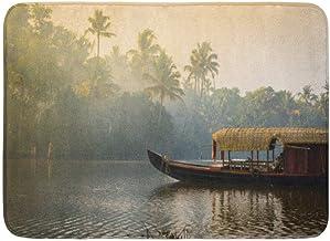 Doormats Bath Rugs Outdoor/Indoor Door Mat Orange Kochi Traditional House Boat is Anchored Shores of Fishing Lake in Keral...