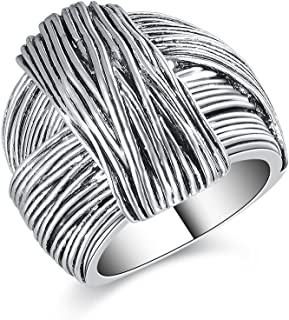 Mytys Vintage Silver Rings Knot Twist Circle Designer Bali Design Solid Large Bold Statement Chunky Rings for Women Men
