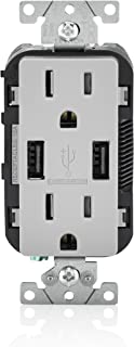 Leviton T5632-GY USB Charger/Tamper-Resistant Duplex Receptacle, 15-Amp, Gray