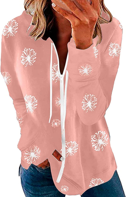 SPOORYYO Womens Long Sleeve Hooded Sweatshirt Floral Printed Hoodies Zip Up Pullover Comfy Casual Blouses Jacket Coat