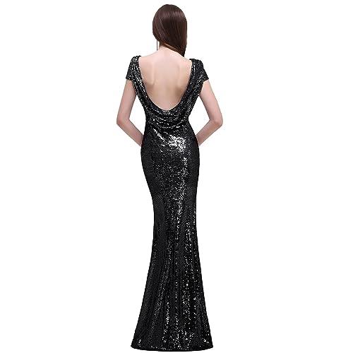 c8d14fffb28c MisShow Women Sequins Prom Bridesmaid Dress Glitter Rose Gold Long Evening  Gowns Formal