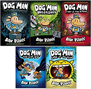 Dav Pilkey the adventures of dog man collection 5 books set (Dog Man,Dog Man A Tale of Two Kitties,Dog Man Unleashed,Dog Man Lord of the Fleas,Dog Man and Cat Kid)