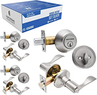 Single Cylinder Door Entry Set - Deadbolt & Locking Lever - Ideal for Home Front Doors, Apartments. Brushed Aluminium - Fits Right & Left Handed Doors (3 Pack)