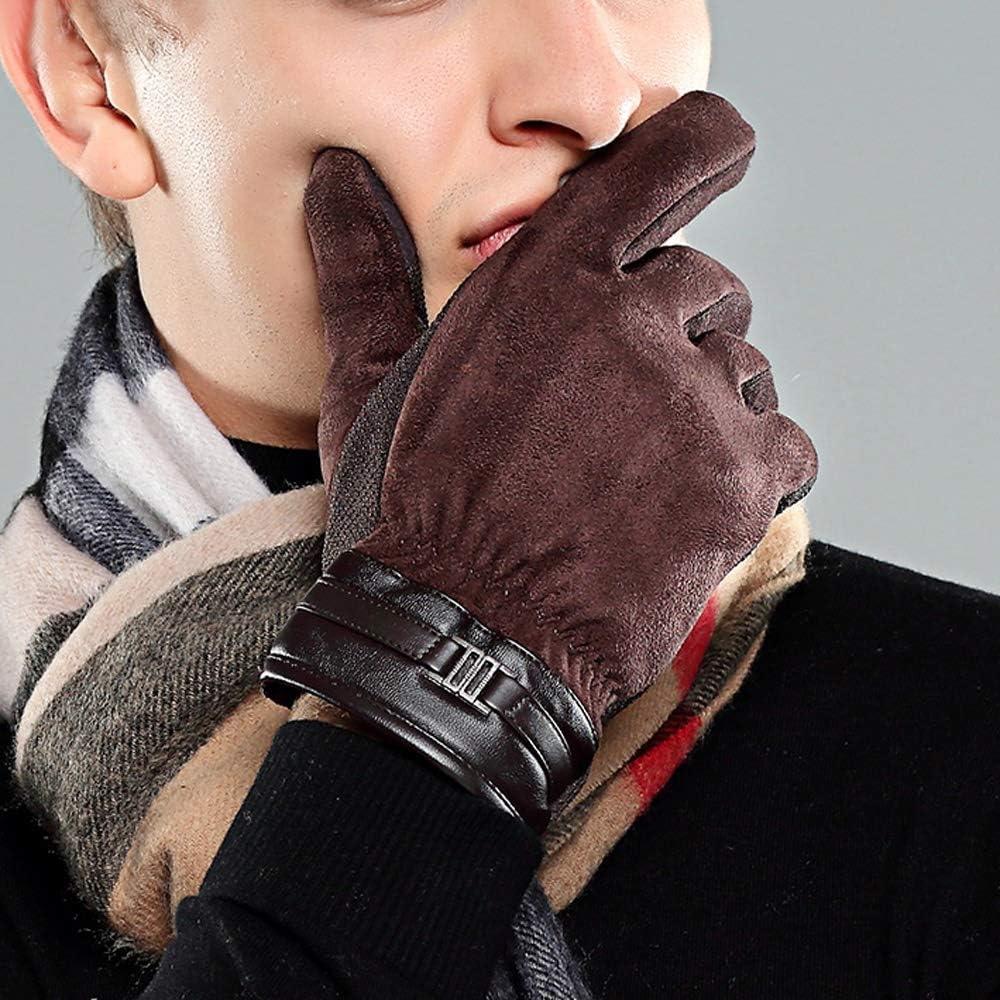 Leouy Autumn and Winter Riding Non-Slip Wear Mitten Men's Outdoor Warm Gloves Touch Screen Warm Gloves Deerskin Brown Gloves Wind and Cold Warm Mitten