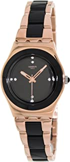 Swatch YLG123G Rose Pearl Black dial Two-Tone Metal Bracelet Women Watch New