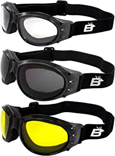 Three (3) Pairs Birdz Eagle Padded Motorcycle Goggles Airsoft Googles Comes with Clear, Smoke, and Yellow Day and Night ri...
