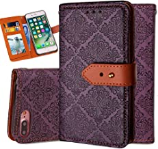 iPhone 6S Plus Leather Wallet Case,Auker Durable Folio Flip Vintage Fold Stand Case Full Body Shock Scratch Drop Protection Pocket Purse Cover with Card Holders&Wrist Strap for Women/Men-Purple