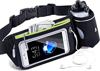 BEYONDY Waist Pack Water Bottle Belt, Running Water Bottle Holder Waterproof Multifunctional Sporting Belt w Touchscreen Zipper Pockets for iPhone Samsung Phones,for Men
