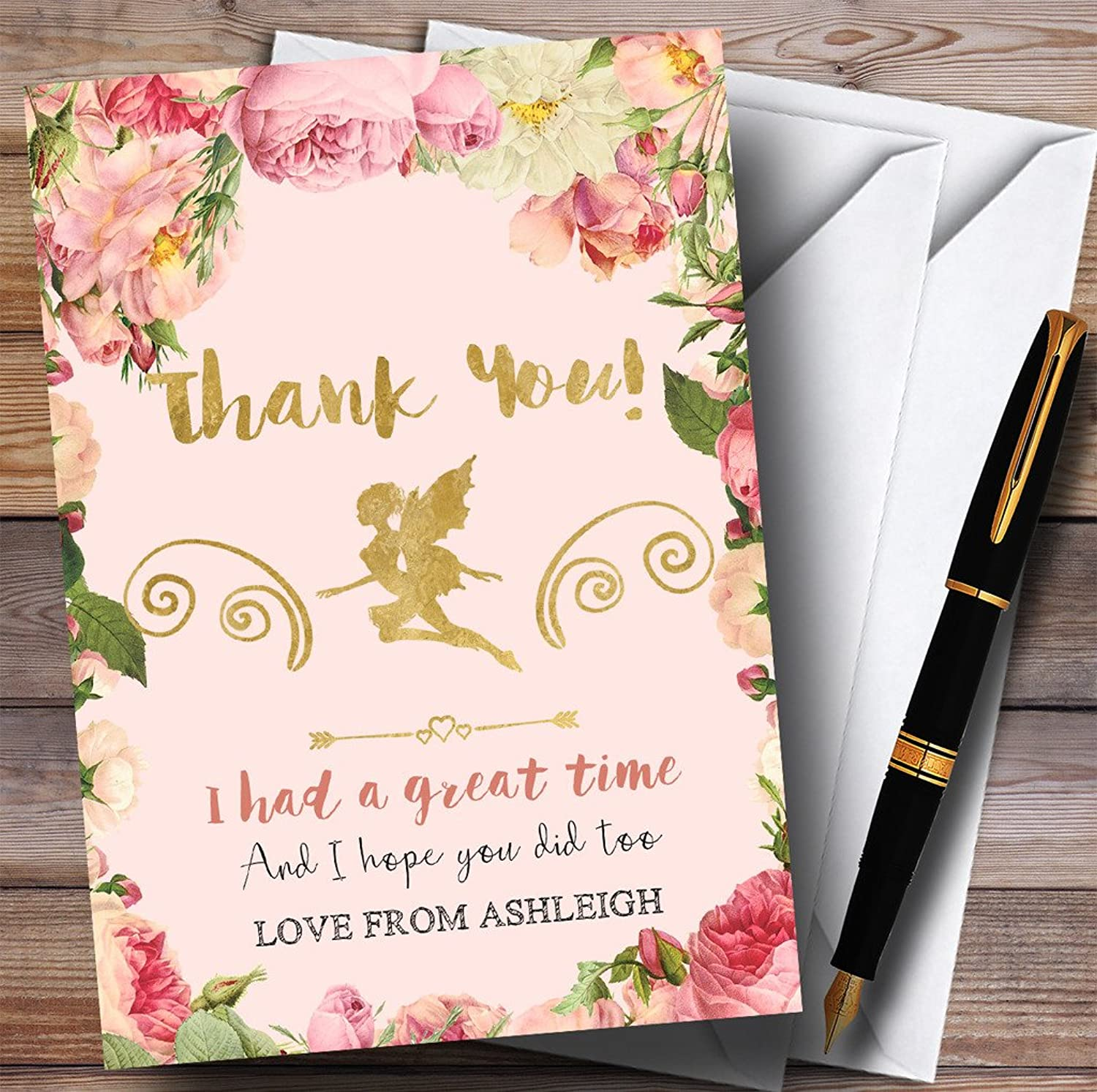 Pink pinks Fairy Party Thank You Cards