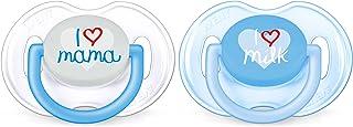 Philips Avent Classic - Set de 2 chupetes decorados, para niños de 0 a 6 meses, color Azul Translúcido