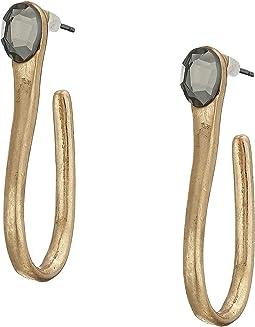 Stone Sculptural Curved Hoop Earrings