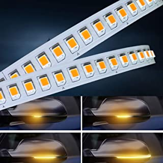 AUTUNEER 2PCS Sequential LED Side Mirror Turn Signal Lights Warning Strip Tape Signal Stickers Safety Pair Set(Amper)