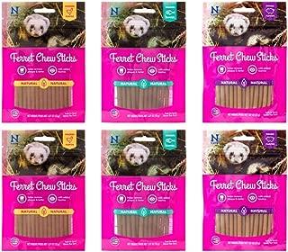 N-Bone Ferret Natural Chew Sticks 3 Flavor 6 Bag Variety Bundle: (2) Chicken, (2) Salmon, (2) Bacon - 1.87 Ounces