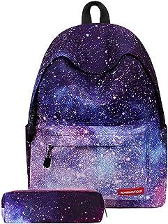 Litthing Sac à Dos Scolaires avec Trousse à Crayons Cartable Backpack Unisexe Galaxie Adolescent pour Collège Loisir Piqu...