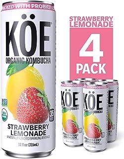 KÖE Organic Kombucha Cans, Strawberry Lemonade, 12 Ounces, Pack of 4