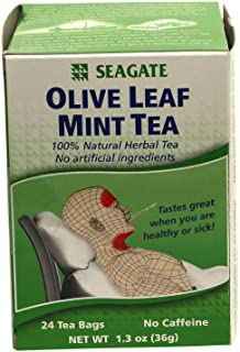 Seagate Products Olive Leaf Herbal Mint Tea 24 Count (Pack of 2)