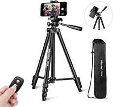 """UBeesize Phone Tripod, 51"""" Adjustable Travel Video Tripod Stand with Cell Phone Mount Holder & Smartphone Bluetooth Remote"""