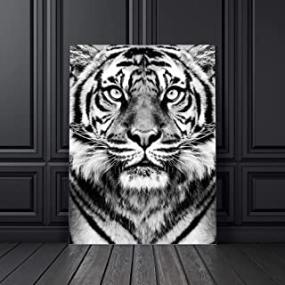 WPFZH Wall Art Canvas Painting Black White Tiger Photo Nordic Posters and Prints Club Decoration Wall for Living Room40x50 cm