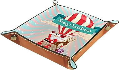 ATOMO Plateau de rangement en cuir avec inscription « Merry Christmas Santa Claus » pour clés, bijoux, pièces de monnaie, art