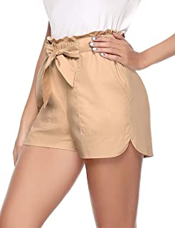 Womens Solid Shorts High Waisted Tie Casual Summer Shorts with Pockets