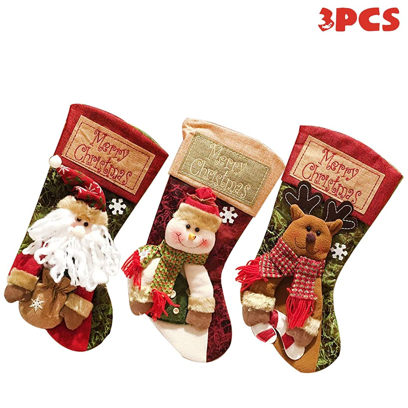 アクセストレースコールドMIOIM クリスマスソックス 3セット クリスマスツリー飾り ギフトバッグ ギフト袋 壁掛け 装飾品 お菓子入り クリスマスオーナメント 置物 クリスマス袋 柔らかい
