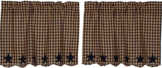 VHC Brands Classic Country Primitive Kitchen Window Curtains - Star Blue Scalloped Tier Pair, Navy, L24 x W36