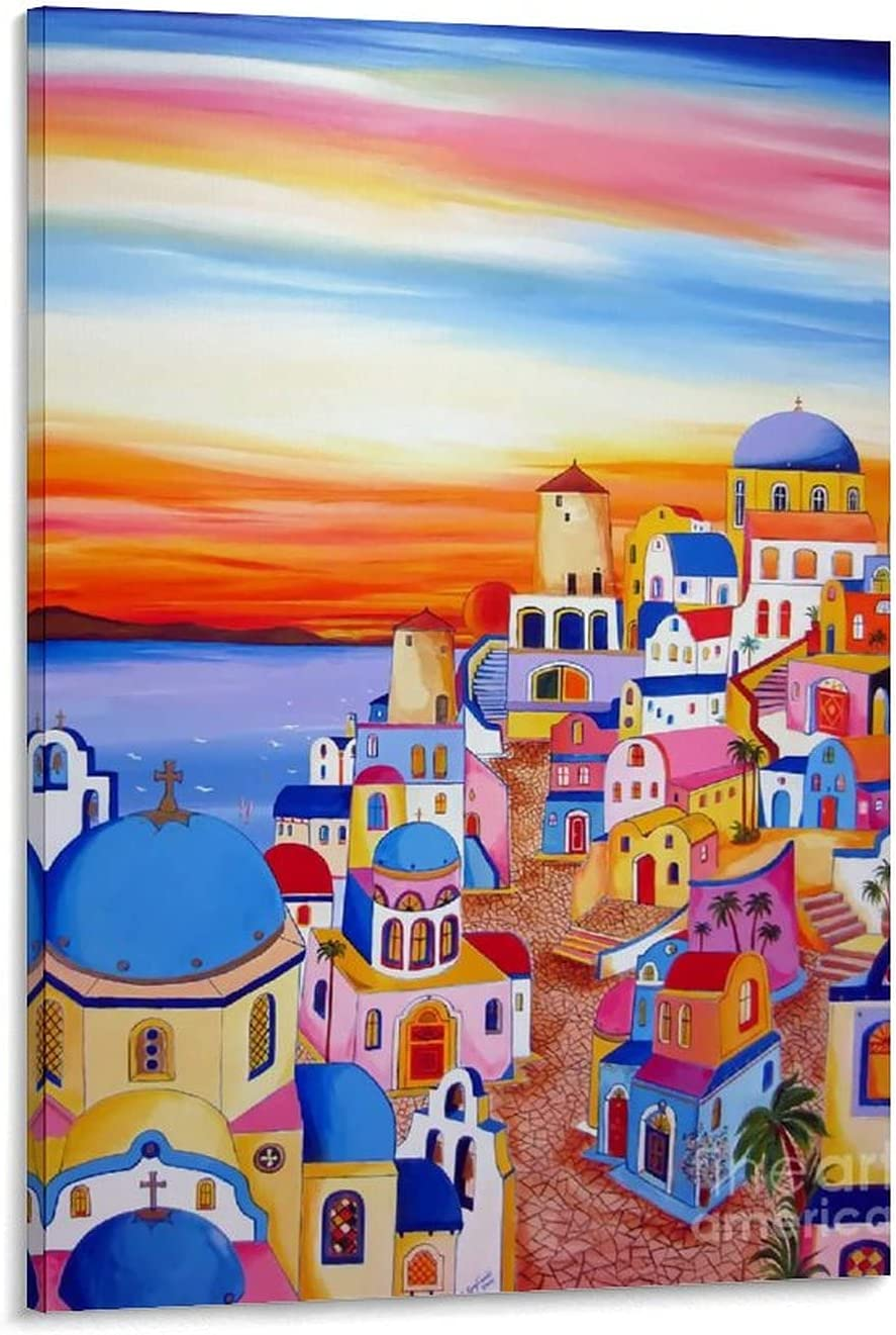 Santorini Sunset Free Discount is also underway Shipping Cheap Bargain Gift PaintingBoutique Fashion Pain Poster Decoration
