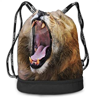 Wild Animals Roaring Lion African Steppe Drawstring Backpack Water Resistant String Bags Lightweight Custom Fitness Bag Su...
