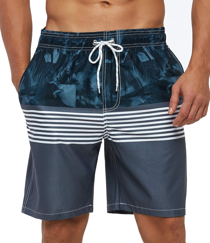 SILKWORLD Men's Swim Shorts Fashion Quick Dry Swim Trunks Beach Swimwear with Mesh Lining