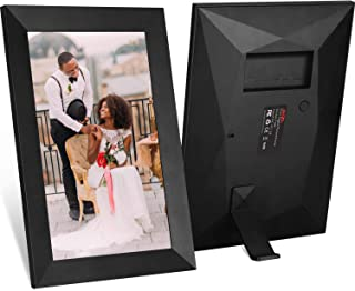 JHZL 10.1 Inch 16GB Smart WiFi Cloud Digital Picture Frame with 800x1280 IPS LCD Panel,Danish Design Frameo App Photos from Anywhere Send, Touch Screen, Portrait and Landscape(Black)