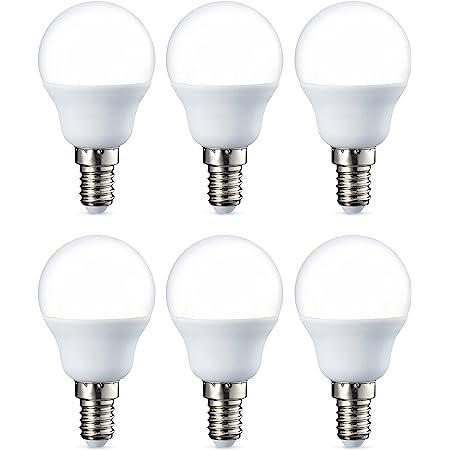 Amazon Basics Petite ampoule LED E14 P45 type globe, avec culot à vis, 5.5W (équivalent ampoule incandescente de 40W), blanc chaud - Lot de 6
