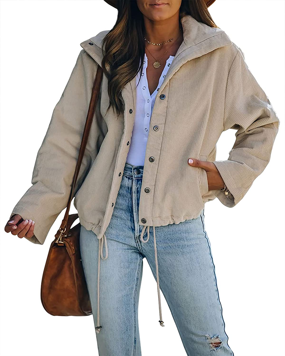 Ermonn Women's Corduroy Jacket Excellent Long Sleeve Fall Button Inventory cleanup selling sale Snap