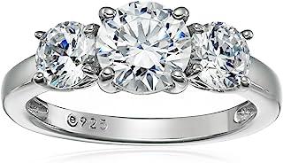 حلقه 3 سنگی استرلینگ با روکش نقره یا پلاتین یا طلا با ساخته Swarovski Zirconia ساخته شده است