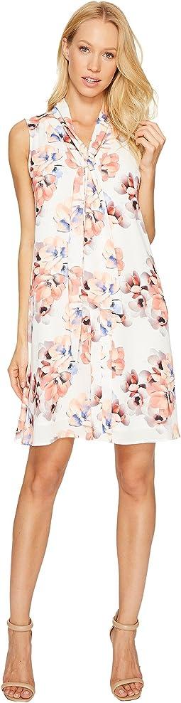 Sleeveless Garden Blooms Tie Neck Swing Dress