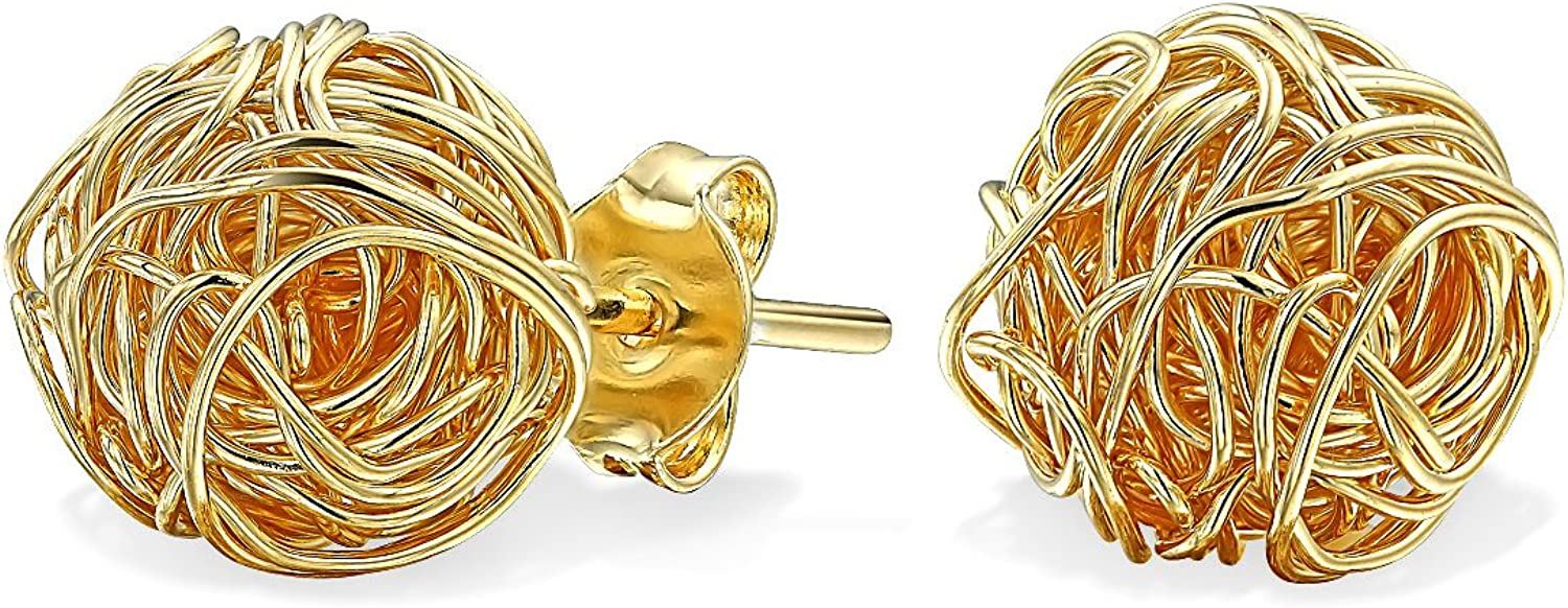 Wire Twisted Knot Rope Round Ball Stud Earrings For Women 14K Gold Plated Brass 7MM