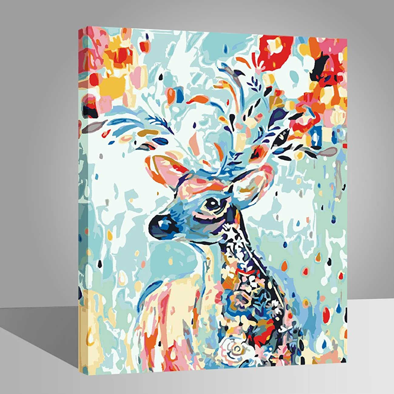 LIUDAO Paint by Number Kit Oil Painting for Kids and Adults Beginner - Rainbow Deer (16x20 inch,Wooden Framed)