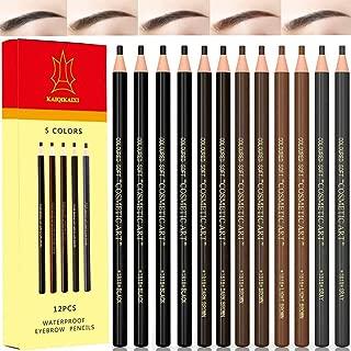 12 Piece Waterproof Eyebrows Pencil Tattoo Makeup And Microblading Supplies Kit-Permanent Eye Brow Liners In 5 Colors(Black, brown, gray) Waterproof Eyebrow Pencils Peel - Brow Pencil Set For Marking