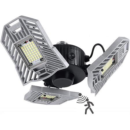LED Garage Lights, 60W 6000LM Motion Activated LED Garage Ceiling Light Bulbs with Remote Control, Adjustable Three Aluminum Leaf Garage Lighting Fixtures Ceiling Led with Motion Sensor