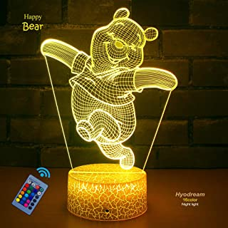 Teddy Bear Lamp Bear Gifts Kids Night Light,16 Colors with Remote 3D Optical Illusion Kids Lamp as a Pefect Gifts for Boys and Girls on Birthday or Holiday