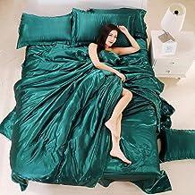 100% Pure Satin Silk Bedding Set,Home Textile King Size Bed Set,Bedclothes,Duvet Cover Flat Sheet Pillowcases,5,Queen4pcs