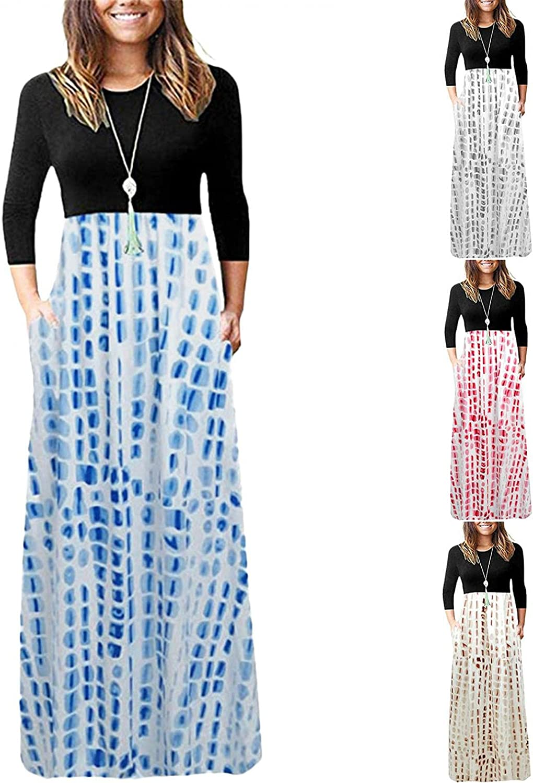 Women's Casual Dresses Long Sleeve Wrap Crewneck Color Block Long Maxi Dress FAshion Print Long Dress with Pockets