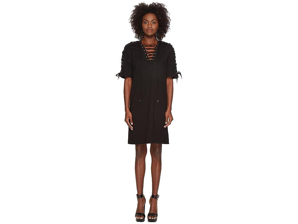 McQ Laced Tee Dress (Darkest Black) Women