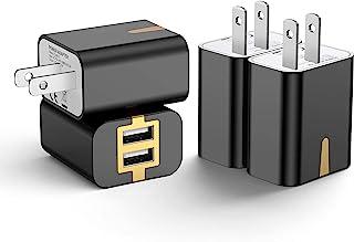 USB 充電器 【4個セット】 usb コンセント PSE認証 2USBポート 軽量 コンパクト スマホ充電器 iPhone iPad Samsung Galaxy Xperiaなと対応 (4個ブラック)