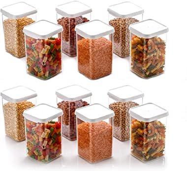 ZooY 1100 ML Easy Flow Cereal Dispenser Storage Jar, Idle for Kitchen- Storage Box Lid Food Rice Pasta Pulses Container, Squa
