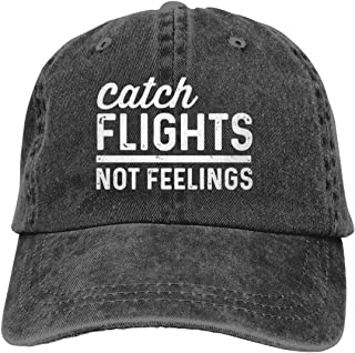 Catch Flights Not Feelings Cowboy Caps Unisex Adjustable Trucker Baseball Hat