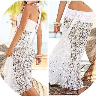 TYS-apparel-accessories Camisa Sexy de Verano para Mujer, Color Blanco y Negro, Falda Pareo sin Mangas, Vestido de caftán